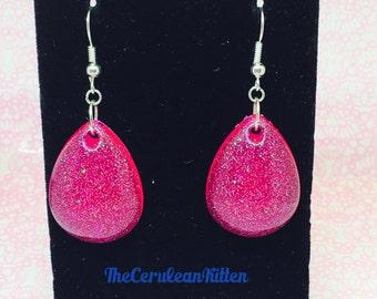 Pink Glittery Translucent Drop Earrings