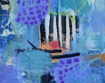 original blue abstract painting on wood panel