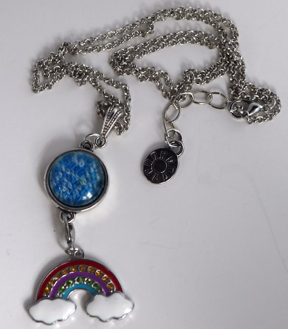 mad hatter blue wrap scrap button necklace by