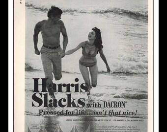 "Vintage Print Ad May 1969 : Harris Slacks Fashion Clothing Beach Bikini Sexy Girl Wall Art Decor 8.5"" x 11"" Advertisement"