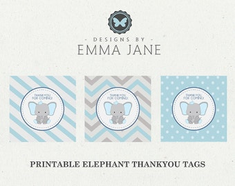 Printable Blue Elephant Birthday Thank You Tags, Party Printables, Instant Download, Elephant Party Decorations, 1st 2nd 3rd 4th Birthday