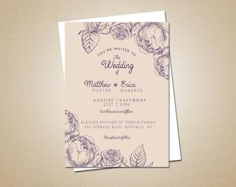 Cream & Lapis Flower Invite