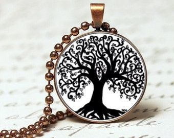 Black and white tree of life pendant necklace