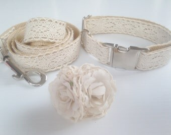 Beautiful Vintage Inspired Lace Dog Collar and Leash Set with Movable Linen Flower Detail Made in Australia