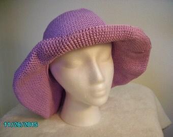 Wood Violet Hand-crocheted Cotton Hat w/floppy brim