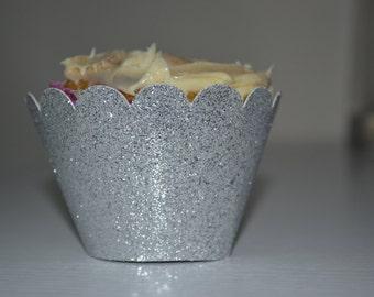 Glitter Silver Cupcake Wrapper / Silver Cupcake Wrapper / Cupcake Wrapper / Muffin Wrapper