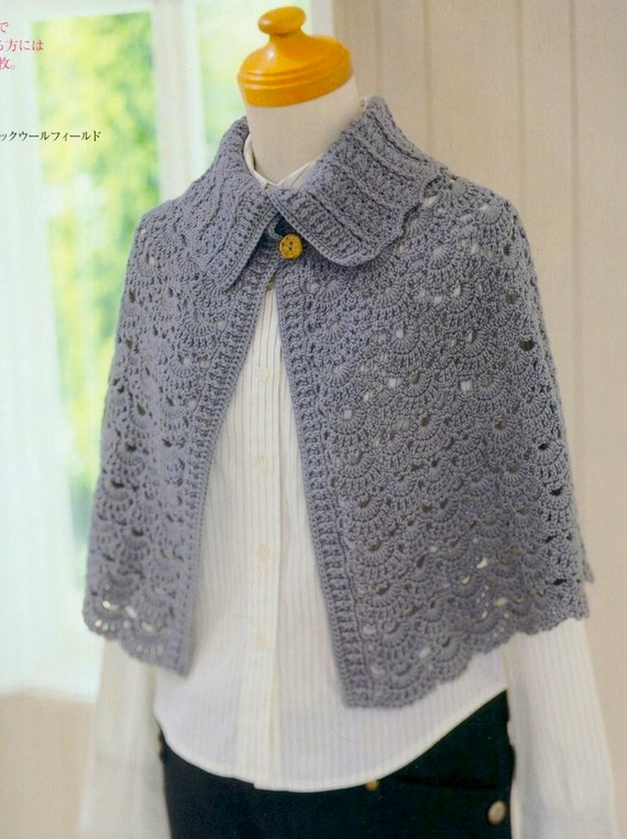 Crochet Pattern PDF for Womens Crochet Cape with Collar in
