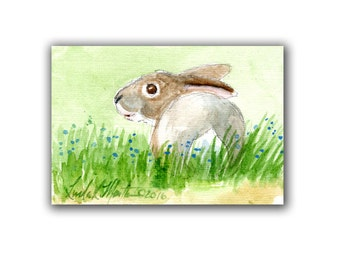 Art Baby Bunny Artwork Miniature  llmartin Original ACEO  Watercolor  Yard Rabbit Free Shipping in USA