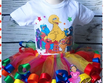 ribbon trimmed sesame street tutu set