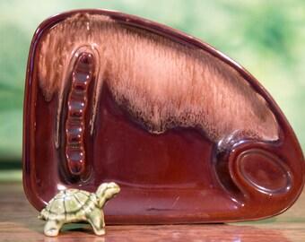 Brown Glazed Ceramic Ashtray - Ries Japan