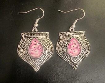 Pink flowers silver dangly earrings