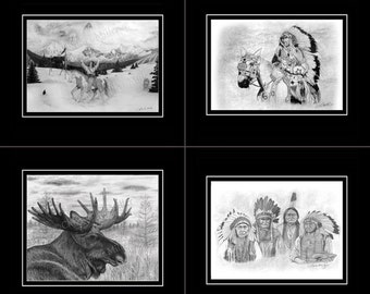 Windwalker - Prints -  Realistic Pencil Drawing - Native American Theme