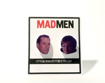 Don Draper & Peggy Olson Earrings | Jon Hamm | Elisabeth Moss | Stud Earrings | Silver Earrings | Mad Men | Gift Idea