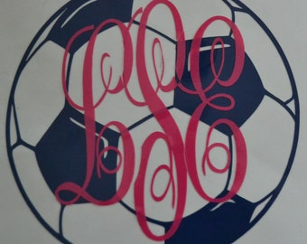 Soccer Ball Vinyl Decal Sticker, Water Bottle Decal, Laptop Decal, Car Decal: 2-12inches
