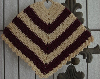 Vintage Burgundy & Cream Striped Crocheted Pot Holder, 1960s, Cute Poncho Shape, Hand made, Cute accent for Your Retro Kitchen ~