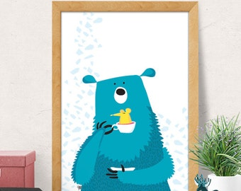 Bear print, Nursery wall art, Nursery decor, Nursery room wall decor, blue bear print, Nursery wall decor, Baby room decor, Minimal bear