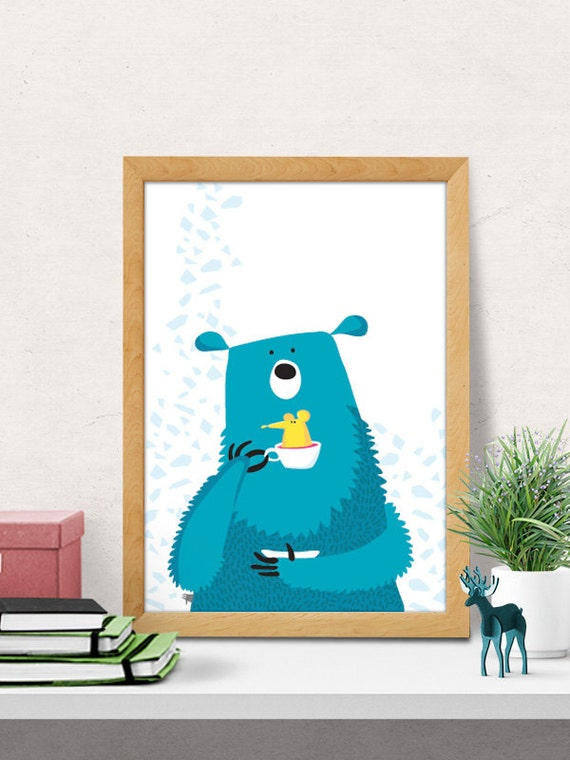 Wall Decor Nursery Nz : Bear print nursery wall art decor room