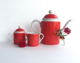 S A L E  Vintage Fitz and Floyd Rondelet Rouge Coffee Pot Set