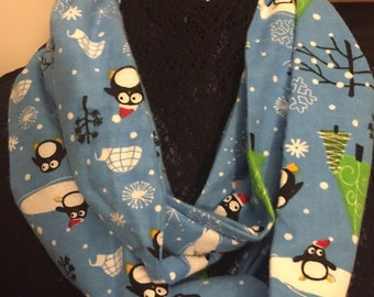 Penguin Scarf, Penguin Lover's Gift, Holiday Gift, Penguin Accessory, Christmas Scarf, Blue Scarf, Holiday Scarf