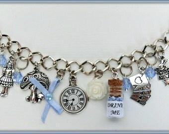 Alice in Wonderland bracelet, Alice charm bracelet, Alice in Wonderland jewelry, Drink me bracelet, We're all mad here bracelet