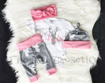 Baby Girls Coming Home Outfit, Custom Name, Country Outfit Set ,Girls Deer Outfit,Light Pink,Gray and White,leggings,hat