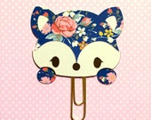 Blue Floral Fox Paperclip