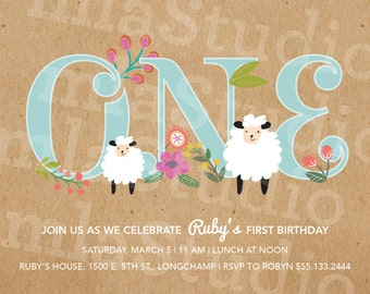 Sheep/Lamb First Birthday Party Invitation