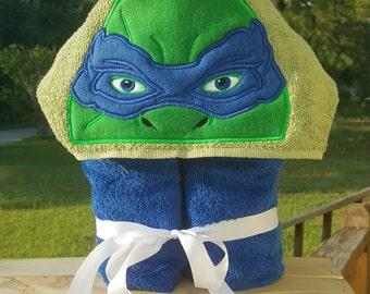 Ninja Turtles Leo (Leonardo) Hooded Towel with FREE EMBROIDERED NAME
