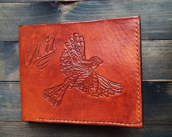 Small Bird Bi-fold PERSONALIZED leather wallet