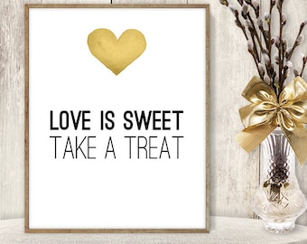 Love Is Sweet, Take a Treat Sign DIY / Yellow Gold Heart, Watercolor Heart Sign / Printable PDF Wedding Sign ▷ Instant Download