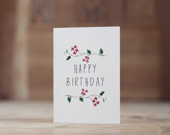 Red Floral Happy Birthday Card