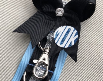Cheer Bow Holder / Klinger™ Backpack Strap. Blue, Red or Gray / Black / Silver, 5 clasps, Personalized Monogram. Price is for 1. Sale!~