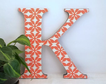 Letter K - Wood Letter Wall Decor - Gallery Wall Letter - Orange and White - Wooden Letter - Wooden Initial - Contemporary Decor - Ikat