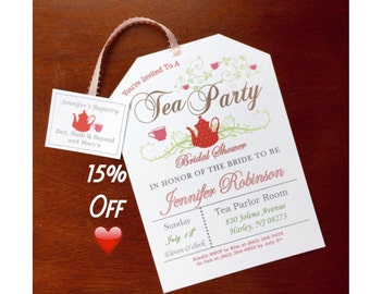 Take 15% off! Tea Party Bridal Shower Invitations