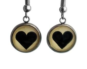 Earrings - Black Heart