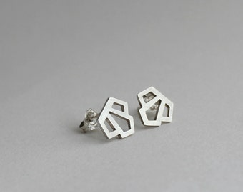 Sterling silver 'Luxe' art deco studs