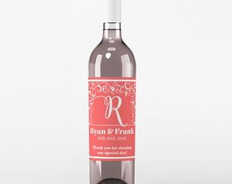 Wedding Wine Labels - Custom Wine Label - Personalized Wine Label - Wedding Wine Bottle Label - Monogram Wedding