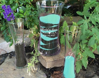Personalized Unity Sand Ceremony Set - Curved Style Vase - Sand Ceremony Cylinders - Sand Ceremony Vase Set - Unity Sand Ceremony Set