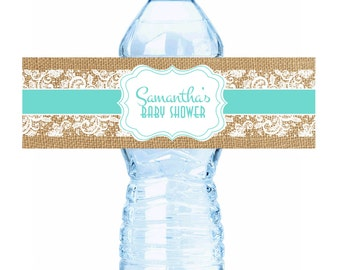 """Rustic Burlap and Lace Aqua Baby Shower Water Bottle Labels - Select the quantity you need below in the """"Pricing & Quantity"""" option tab"""