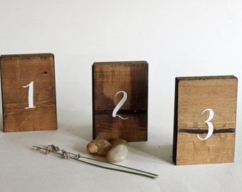 10 Table Numbers, Set of 10 Rustic Table Numbers, Rustic Wedding Decor, Rustic Table Decor, Reclaimed Wood Table Numbers,