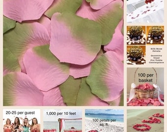 500 Pink Sage Rose Petals - Silk Rose Petals for Weddings. Flower Girl Baskets, Petal Toss