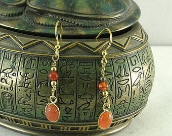 Small Carved Carnelian Scarab Earrings - Egyptian Dangles