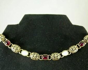 Mother of Pearl Garnet Necklace - Elizabethan Renaissance - Victorian