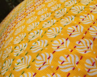 Bright Yellow Pillow Cover with Kantha Work