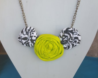 Rolled Rosette Fabric Flower Necklace, Neon Gren & Zebra print on Antique brass chain