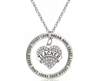 Teacher Trust Love Dream Hope Silver Plated Charm Necklace 23-25 Inches Adjustable