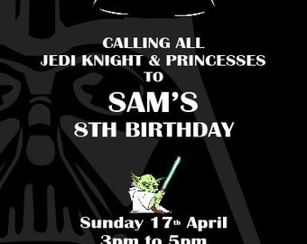Printed Personalised Star Wars Birthday Party Invitations x10