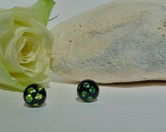 dichroic glass studs. silver studs. black sterling silver studs. spotty studs. polka dot studs. glass jewelry. fused glass studs