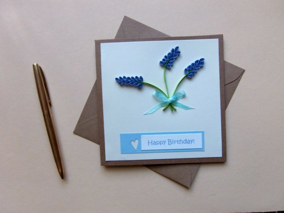 "Quilled Lavender Square Birthday Card Size 5""x 5"" #CavEtsy"