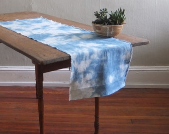 Hand Dyed Linen Shibori Table Runner: Abstract Pattern